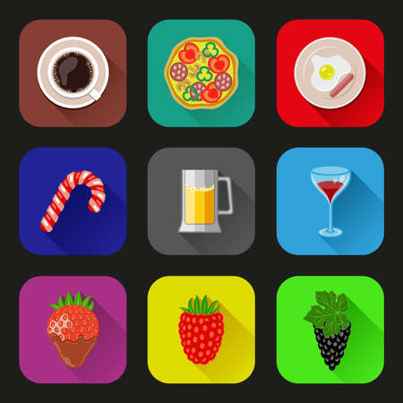 Food and drinks icons set  Flat design Vector