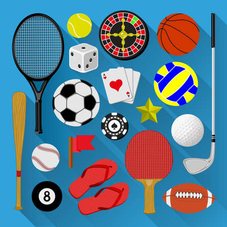 Flat icons bundle  Sport and recreation concept Vector