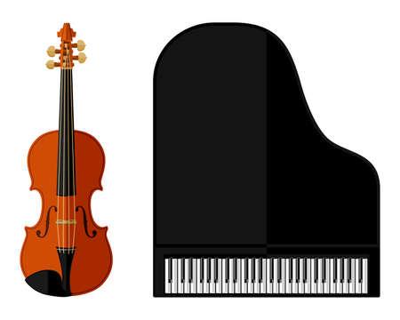 ヴァイオリンとグランド ピアノのフラットなデザインの分離イメージ