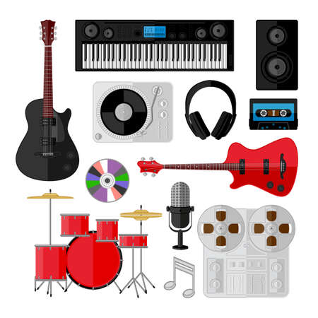 Set of music and sound objects isolated on white  Flat design Vector