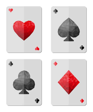 Playing cards in modern triangle style Vector