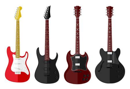 guitar neck: Set of isolated guitars  Flat design