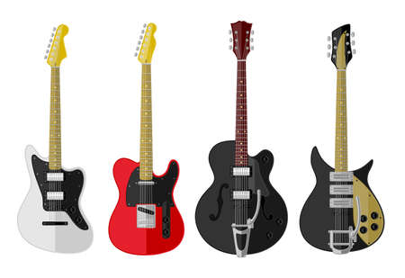 electric guitars: Set of isolated guitars  Flat design
