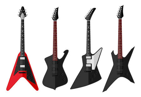 guitar neck: Set of isolated vintage guitars  Flat design