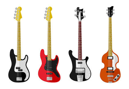 bass guitar: Set of isolated vintage guitars  Flat design