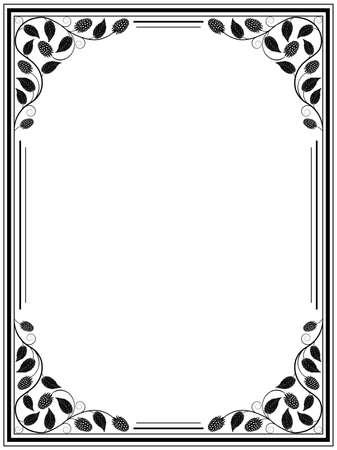 bramble: Vintage floral frame  Decorative pattern