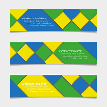 world cup: Abstract geometric banners in Brazil flag colors