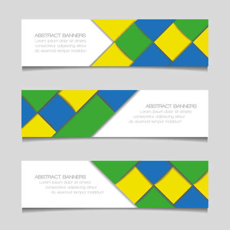 Abstract geometric banners in Brazil flag colors Vector
