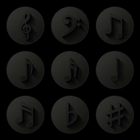 crotchets: Music notes  Icons set Illustration