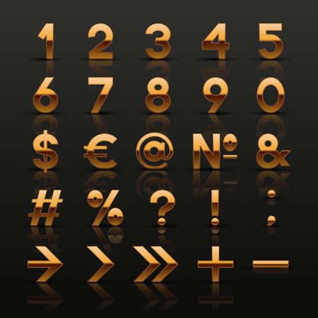 interface elements: Set of decorative golden numbers and symbols