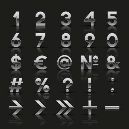 punctuation: Set of decorative silver numbers and symbols