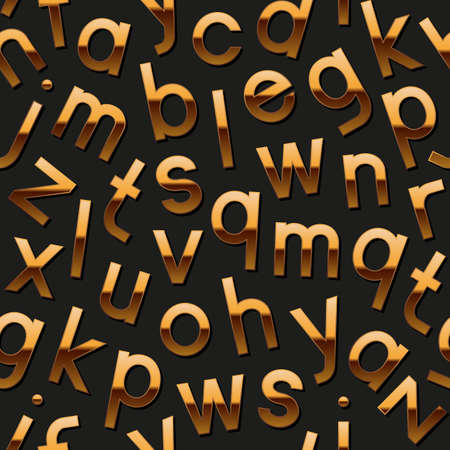 Seamless pattern with golden alphabet Vector