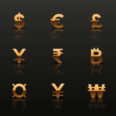 yuan: Golden currency icons set