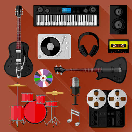 Set of music and sound objects  Flat design Vector