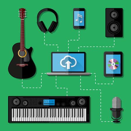 note pc: Music recording studio concept  Flat design