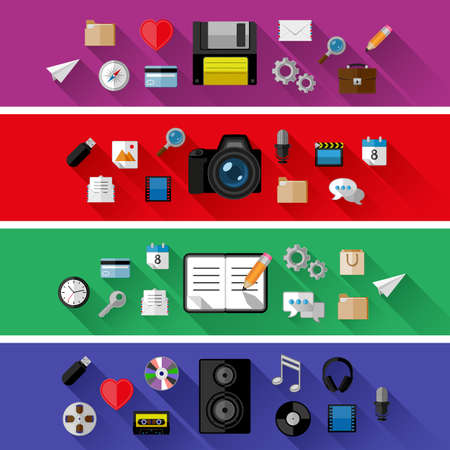 Set of web and business concepts. Flat design Vector