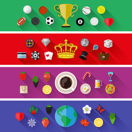 Set of nature, sports, food and drinks concepts. Flat design Vector