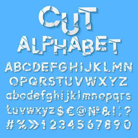 bundle of letters: Paper alphabet with cut letters Illustration