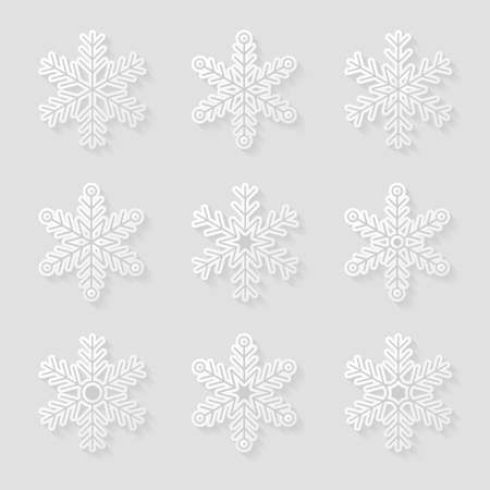 background pattern: Set of snowflakes Illustration