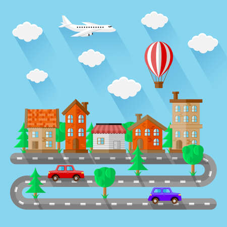 balloon vector: City landscapes. Flat design Illustration