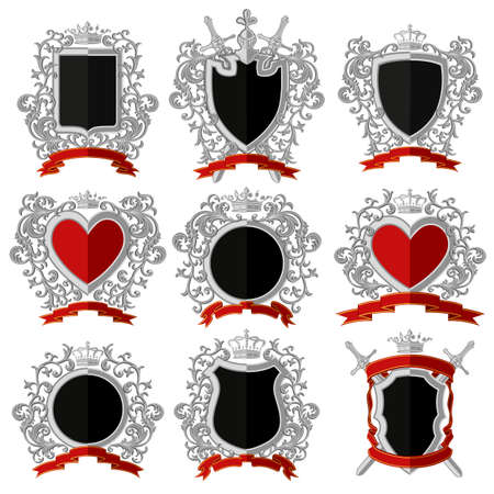 escudo de armas: Escudo de armas. Diseño plano