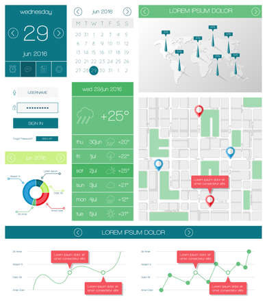 ui: Ui, templates and elements of infographics Illustration