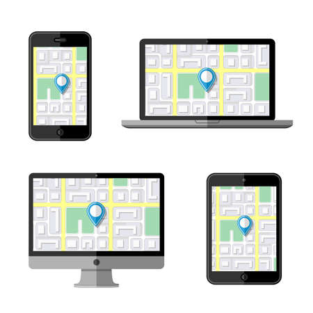 navigation icons: Navigation concept. Flat icons Illustration