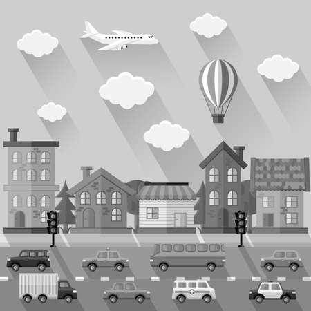 light landscape: City landscape. Flat design Illustration