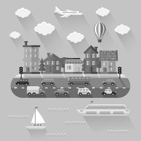 city landscape: City landscape. Flat design Illustration