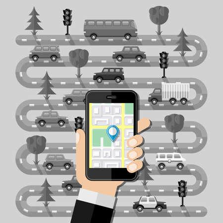 cars on road: Navigation concept. Flat design