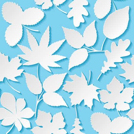 vintage leaf: Seamless background with paper leaves Illustration