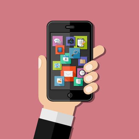 smartphone hand: Hand holding smartphone. Flat design