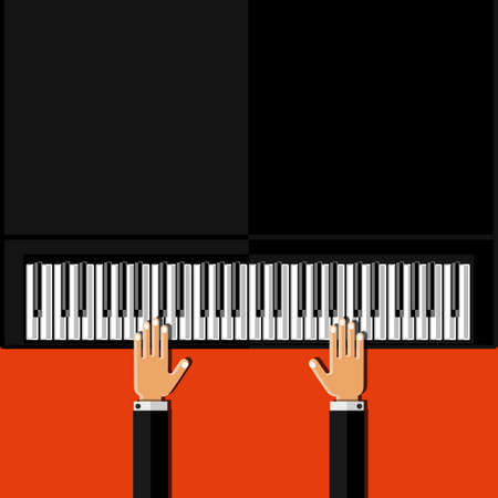 grand piano: Hands playing the grand piano. Flat design