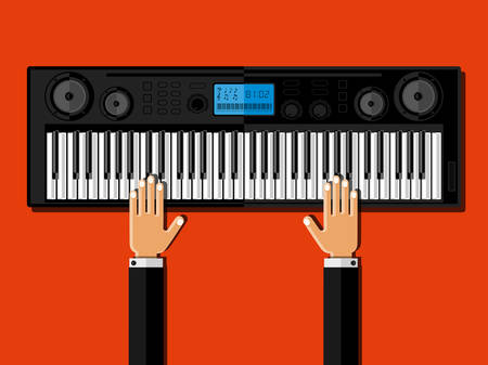 synthesizer: Hands playing the synthesizer. Flat design Illustration