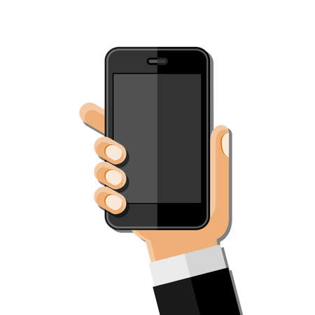 telecommunications technology: Hands holding mobile phone. Flat design Illustration