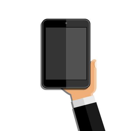 electronic tablet: Hands holding mobile phone. Flat design Illustration