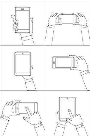 hand set: Hands holding mobile phones. Set of line icons