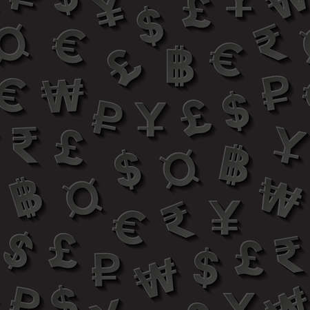 baht: Seamless pattern with currency symbols