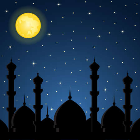blue mosque: Night background with mosque silhouette Illustration