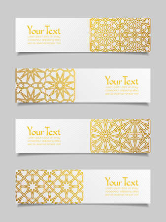 eastern religion: Set of banners with traditional ornament Illustration