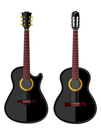 flat: Vintage acoustic guitars. Flat design. Vector illustration.