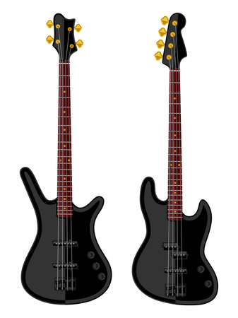modern: Modern electric bass guitars. Flat design
