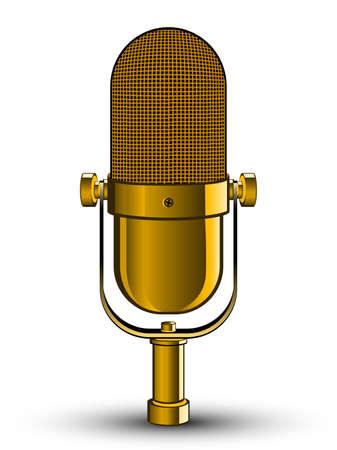 Realistic isolated image of golden microphone. Vector illustration.
