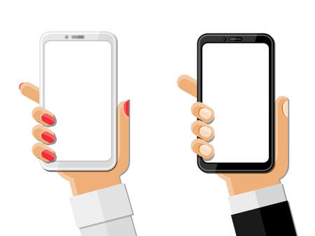 Hands holding smartphones isolated on white. Vector illustration.