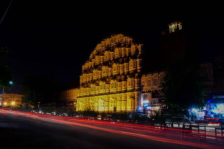 Night landscape of Hawa mahal with slow shutter capture.