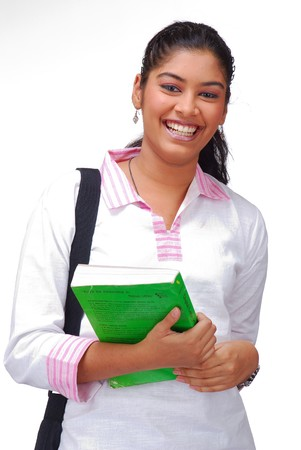smiling young girl with book and bag  over a white background Stock Photo - 4464082