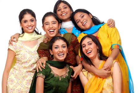 adult indian: group of six young cheerful girls  Stock Photo