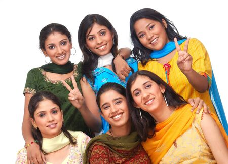 indian beauty: cheerful group of girls