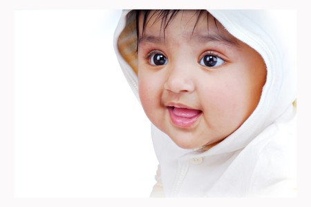 beautiful indian girl face: side pose portrait of baby Stock Photo