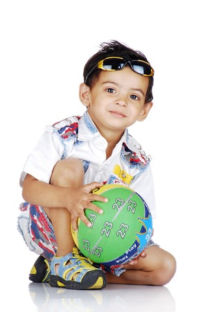 indian children: boy giving pose wearing goggles on head  Stock Photo